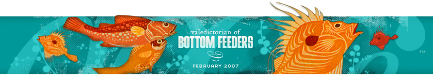 dooce.com Masthead for February 2007 by Heather B. Armstrong titled Valedictorian of Bottom Feeders