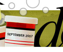 dooce.com Masthead for September 2007 by Heather B. Armstrong titled Side Effects May Include: Headache, Nausea, Abdonimal Pain