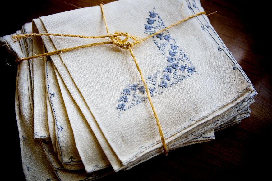 Hand-embroidered table linens | dooce