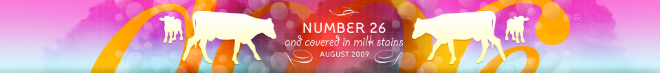 dooce.com Masthead for August, 2009 by Heather B. Armstrong titled Number 26 and covered in milk stains
