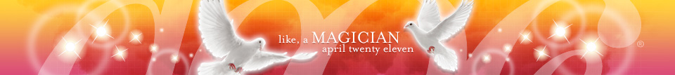 dooce.com masthead for April, 2011. Title: Like a magician