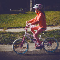 leta riding bicycle
